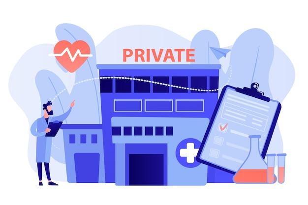 Médecin pointant vers un centre de santé privé avec des services médicaux. soins de santé privés, services médicaux privés, concept de centre de soins de santé. illustration isolée de vecteur bleu corail rose