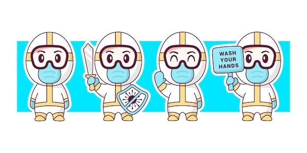 Médecin portant un costume hazmat illustration de personnage mignon.