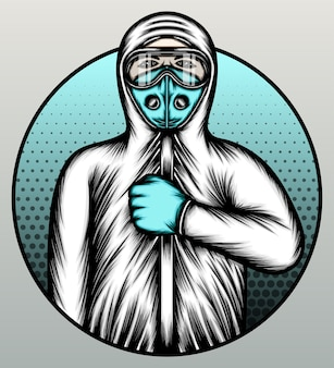 Médecin portant un costume de matières dangereuses.
