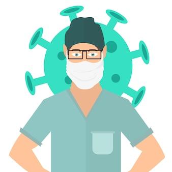 Médecin portant un masque facial, illustration vectorielle covid-19. infection au coronavirus covid