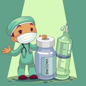 Médecin portant un masque médical avec personnage de dessin animé de vaccin. personnel médical de l'épidémie de covid-19. illustration.