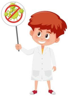 Médecin portant un masque et tenant le signe du coronavirus d'arrêt