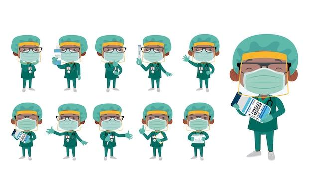 Médecin Portant Une Suite De Protection Pour Lutter Contre Le Coronavirus Vecteur Premium