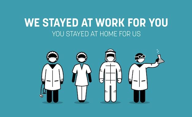 Médecin de première ligne, infirmière, personnel médical et personnel exhortant le public à rester à la maison