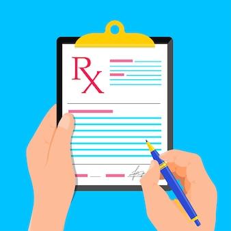 Médecin de prescription médicale rx écrivant la signature de la recette rx sous forme de soins de santé design plat moderne
