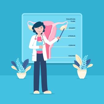 Médecin présentant le système reproducteur féminin