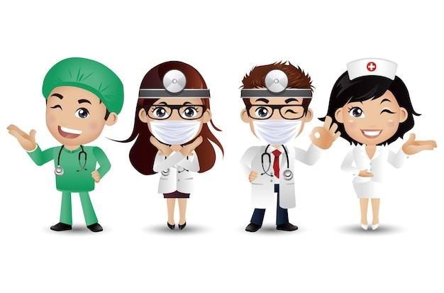 Médecin de profession avec différentes poses