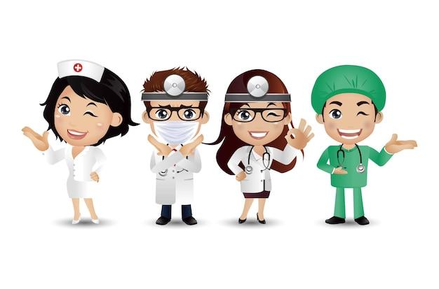 Médecin de profession avec des poses différentes