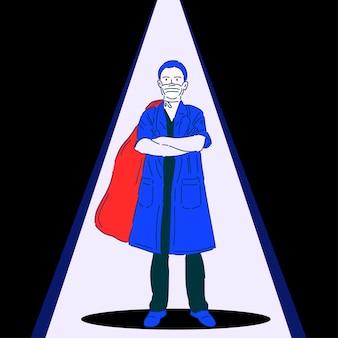 Médecin professionnel dans un masque médical. superhero. travailleur médical. illustration vectorielle dans un style linéaire moderne.
