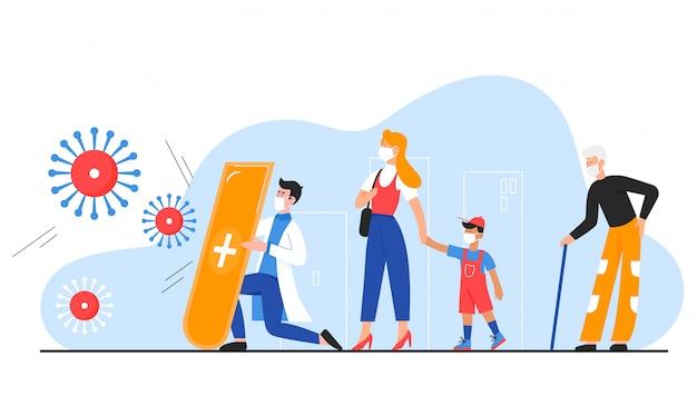 Médecin protège les gens contre les coronavirus, concept d'illustration vectorielle plane covid 19 caractères