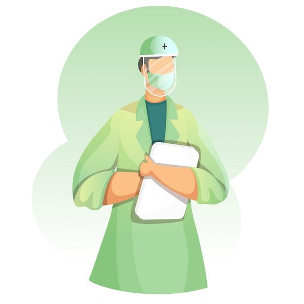 Un médecin sans visage porte un kit epi avec rapport sur fond vert et blanc.
