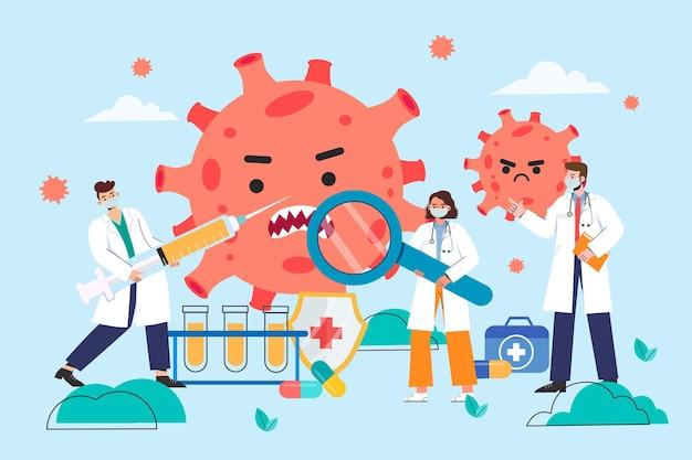 Un médecin se bat contre covid-19 avec un vaccin