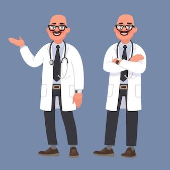 Médecin de sexe masculin heureux. caractère du travailleur médical
