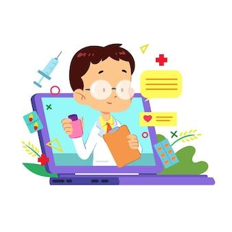 Médecin de sexe masculin en ligne prêt à résoudre les problèmes médicaux