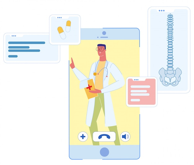 Médecin de sexe masculin sur le service en ligne smartphone screen