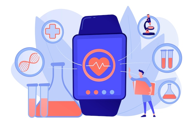 Médecin et smartwatch avec coeur et icônes médicales. tracker de santé smartwatch et moniteur de santé, concept de suivi d'activité illustration isolée de bleu corail rose