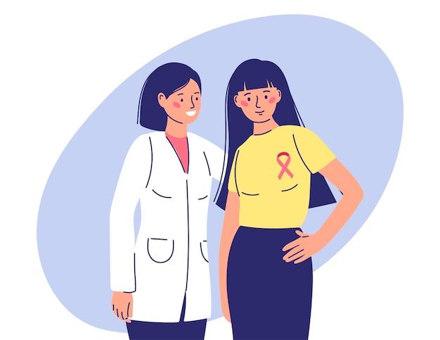 Le médecin soutient la patiente atteinte du cancer du sein victoire dans les illustrations de la maladie en simple