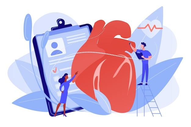 Médecin avec stéthoscope à l'écoute d'énormes battements cardiaques cardiopathie ischémique
