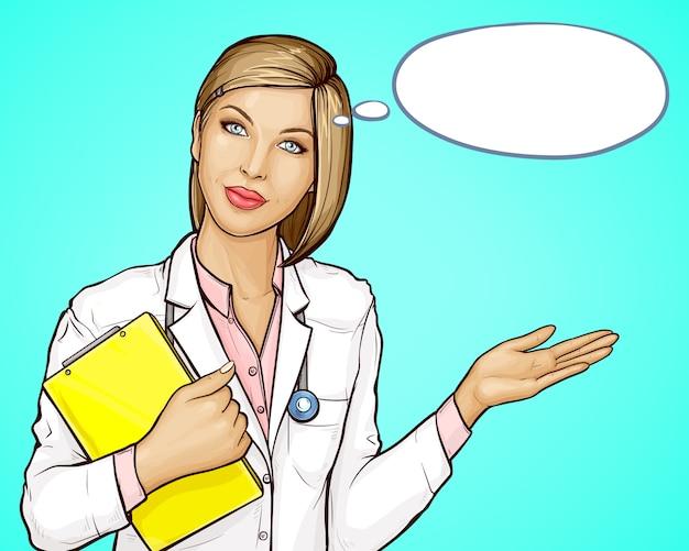 Médecin avec stéthoscope et livre accueillant les patients