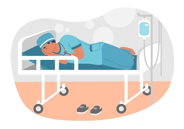 Médecin surmené fatigué ou stagiaire dormant sur une civière en salle d'hôpital, appartement. épuisement professionnel. épuisement physique et émotionnel.