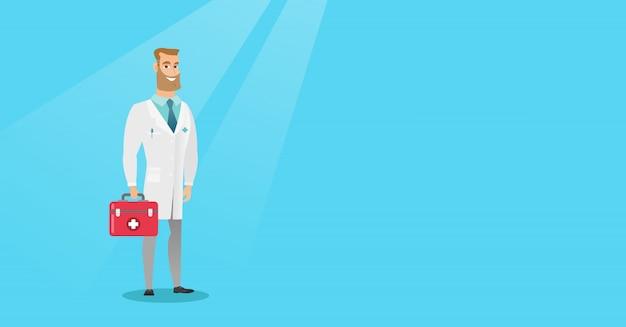 Médecin tenant illustration vectorielle de secourisme boîte