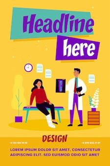 Médecin tenant une radiographie de la jambe cassée isolée illustration vectorielle plane. dessin animé femme triste blessée assise avec plâtre dans la salle de consultation de l'hôpital