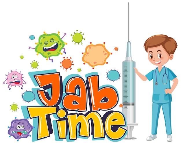 Un médecin tenant une seringue de vaccin avec le logo de police jab time