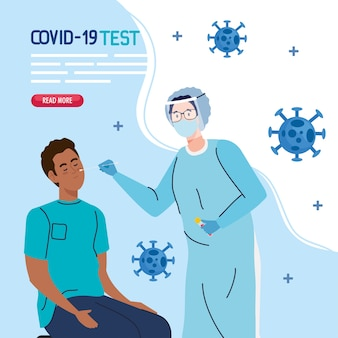 Médecin de test de virus covid 19 et homme noir sur la conception de la chaise du thème ncov cov et coronavirus