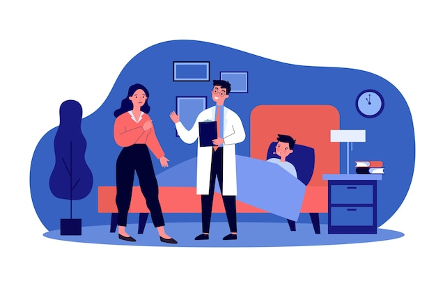 Médecin traitant parlant avec une mère inquiète. enfant, lit, illustration de la grippe. concept de soins et de traitement médical pour bannière, site web ou page web de destination