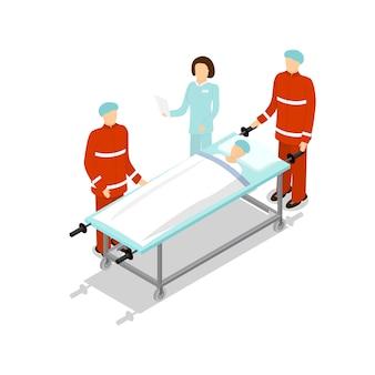 Médecin traitant le patient isolé sur blanc