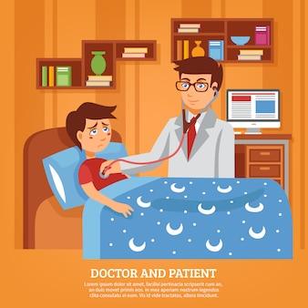 Médecin traitant patient maison plat illustration