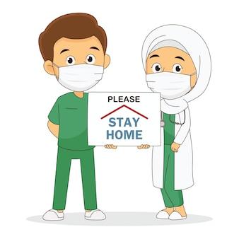Médecin travaillant à l'hôpital et combattant le coronavirus, restez à la maison
