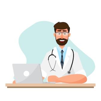 Le médecin travaille dans une pièce avec un ordinateur portable. antécédents médicaux. personnage plat illustration