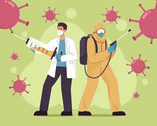 Médecin et travailleur médical avec combinaison de protection contre le coronavirus