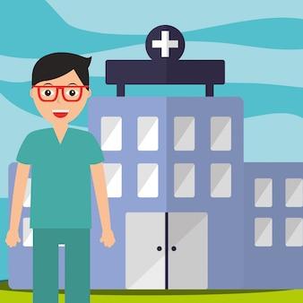 Médecin en uniforme uniforme chirurgien bâtiment de l'hôpital professionnel