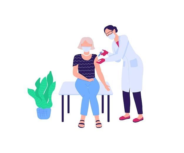 Médecin vaccinant des personnages sans visage couleur plat femme