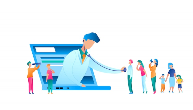 Médecin de vecteur examinant le patient à l'aide d'un stéthoscope
