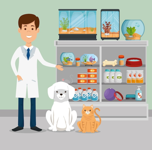 Médecin vétérinaire avec le caractère de la mascotte