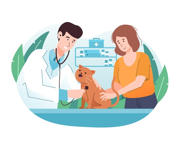 Médecin vétérinaire examinant un chat avec stéthoscope en clinique vétérinaire