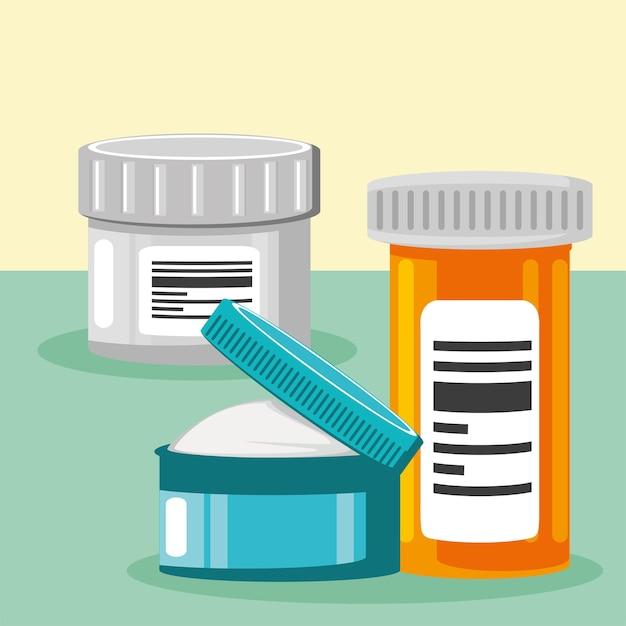 Médecine bouteilles pilules crème médical