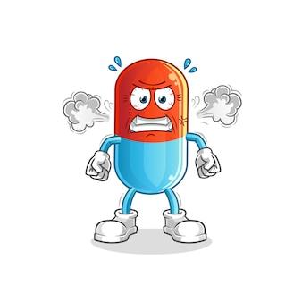 Médecine mascotte de dessin animé très en colère