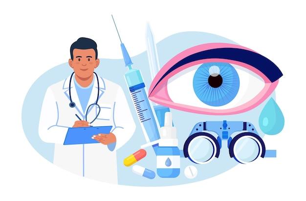 Médecine ophtalmologique et examen de la vue optique. idée de soins oculaires et de vision. un médecin ophtalmologiste teste la myopie. correction de la vue du patient, traitement avec des gouttes de pilules et des lunettes