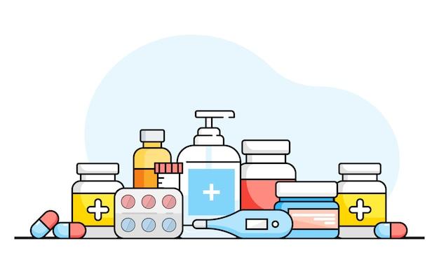 Médecine, pharmacie, hôpital, ensemble de médicaments avec des étiquettes sur fond blanc. médicament, concept de pharmacie. graphiques plats.