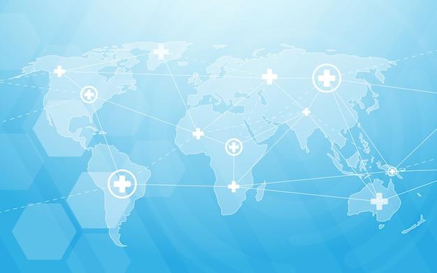 Médecine et science avec carte du monde