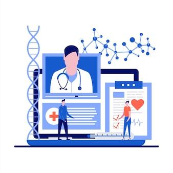 Médecine et soins de santé avec consultation médicale en ligne et rendez-vous chez le médecin au design plat