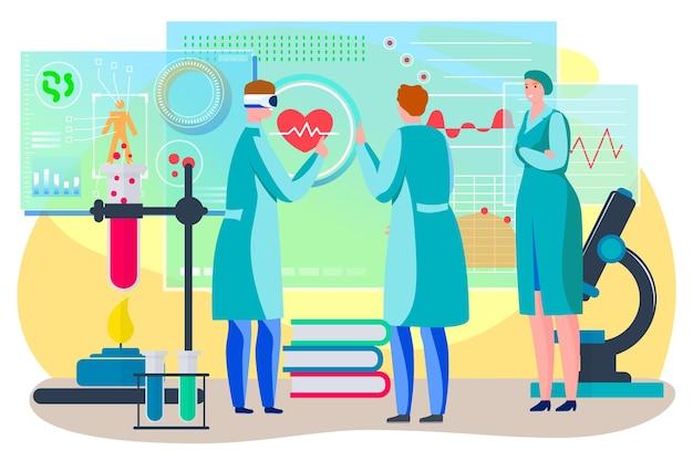 Médecine soins de santé avec la technologie numérique vector illustration plat homme femme caractère travail en mod...