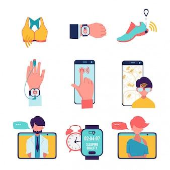 Médecine avec les technologies informatiques, ensemble d'icônes de soins de santé isolé