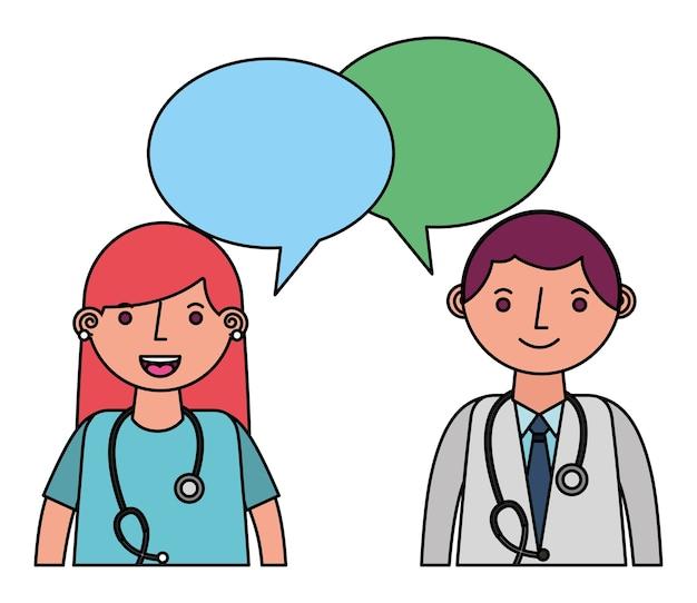 Médecins de couple médical avec des bulles