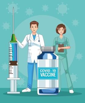 Médecins couple personnages avec flacon de vaccin et illustration de seringue