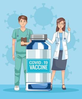 Médecins couple personnages avec illustration de flacon de vaccin